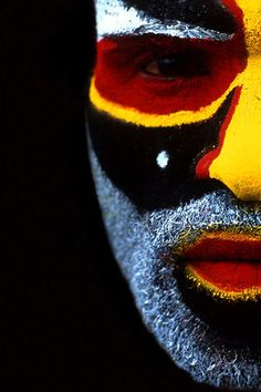 Papua New Guinea, Half Face Close Up; photograph by Eric Lafforgue. Mount Hagen, Papua New Guinea