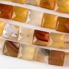 """Carnelian, 10mm Faceted Squares, 8"""" Strand, 7CA62-0001"""