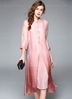 Vintage Dresses Shop Elegant Silk Pure Color Shift Dress at EZPOPSY. - Shop Elegant Silk Pure Color Shift Dress at EZPOPSY. Vestidos Vintage, Vintage Dresses, Shift Dresses, Midi Dresses, Ao Dai, Pink Dress, Dress Up, Hijab Style, Daily Dress