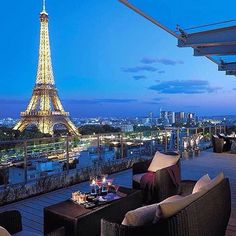 Insta / daydreamlifestyle: Beautiful view of the Eiffel Tower from the patio of the Shangri-La hotel! Photo by @shangrilaparis