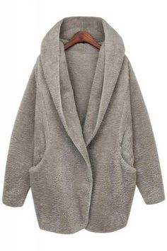 Loose Two-Pocket Long Sleeve Hooded Winter Coat