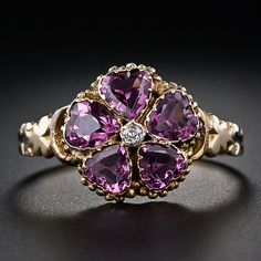 Victorian Garnet and Diamond Flower Ring - 30-1-4207 - Lang Antiques