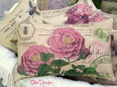 PINK ROSES French Postcard PILLOW