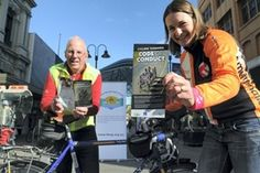 Tamar Bicycle Users Group president Malcolm Cowan and former Australian Institute of Sport cyclist Louise Padgett at yesterday's launch of Cycling Tasmania's code of conduct. Picture: PAUL SCAMBLER