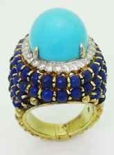 Rare Estate 18k Yellow Gold Turquoise Lapis VS Diamond Ring Size 6.5 R276