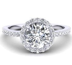 Diamond Halo Style Engagement Ring Mounting in 18k White Gold