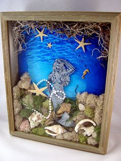 Mixed Media Art Collage Mermaid Shadow Box by Thefaerywatcher Seashell Art, Seashell Crafts, Beach Crafts, Shadow Box Kunst, Shadow Box Art, Beach Shadow Boxes, 3d Collage, Mermaid Wall Art, Sea Glass Crafts