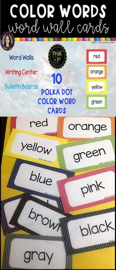"Get your word wall, writing center, or bulletin boards ready for the beginning of the year with these colorful word cards.  Each card measures 3.5 x 6"", bordered in polka dots with large print. So many uses, such as labeling, ESL, ELL, a writing center, pocket chart activities, and more.  Color word cards included are:  red, orange, yellow, green, blue, purple, gray, black, brown #colorwords #colors #wordwall #littlelearningcorner Purple Gray, Blue, Illustrated Words, Wall Writing, Number Words, Vocabulary Cards, Your Word, Orange Yellow, Anchor Charts"