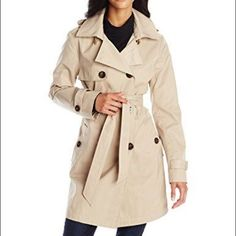 Ellen Tracy Double Breasted Hooded Classic Trench