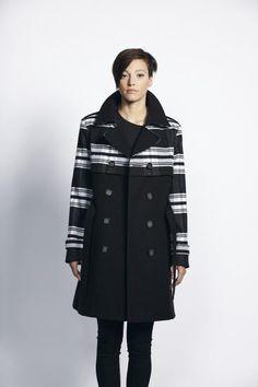 £110 Liquorish Black And White Stripe Lapel Coat - New Women's Coat | Liquorish Clothing www.liquorishonline.com