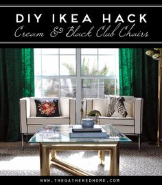 DIY Ikea Hack Cream and Black Club Chairs   www.thegatheredhome.com #tutorial #ikeahack #paintedupholstery