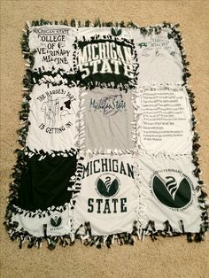 I made this blanket with my old MSU T shirts. It's all tied together so there was no sewing. The back is a green and white plaid fleece blanket. Go Green!  JF