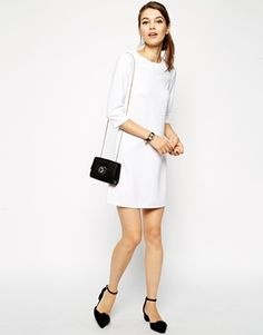 Enlarge ASOS 60's Shift Dress in Rib with 3/4 Sleeves