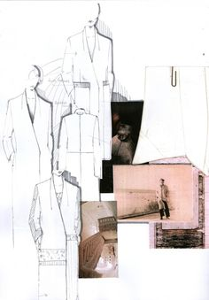 Fashion Sketchbook page with fashion design drawings & research; fashion portfolio // Mirjam Maeots