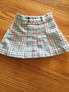 Janie and Jack Toddler Girls Skirt 2T 2 Light Blue Plaid Wool | eBay