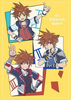 Sora's my favorite character from Kingdom Hearts and I collect and draw images featuring him and his friends. Kingdom Hearts Games, Kingdom Hearts Characters, Kingdom 3, Kingdom Hearts Fanart, Cry Anime, Anime Art, Disney Love, Disney Magic, Disney Pixar