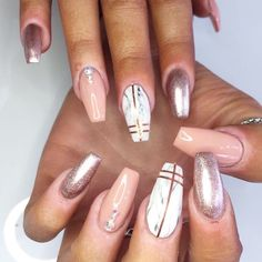Marble, Rose Gold Coffin Nails, with strips.
