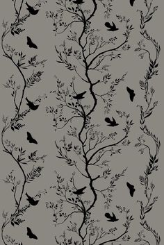 bird branch stripe velvet | fabric