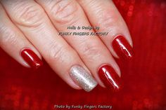 Gelish Red and Silver Glitter nails by FUNKY FINGERS FACTORY