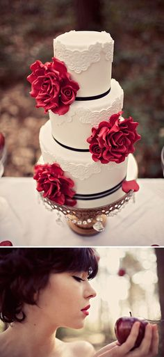 White, Red & Black Wedding Cake.