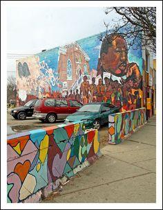 Detroit chimera graffiti mural russell industrial center for Enjoy detroit mural