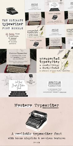It includes all types of typewriter fonts: from sans to serif, from very legible to grungy, from hand-drawn to realistic. They include a bunch of Open Type features, such as contextual alternates and ligatures, that make them super fun to use and realistic. Font Design, Design Food, Design Typography, Best Logo Design, Typography Logo, Lettering, Logo Branding, Script Logo, Graphic Design