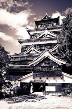 Hiroshima castle, Japan 広島城, love black and white photography.