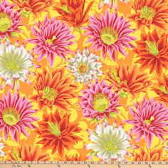 Kaffe Fabrics are so beautiful and will be great for that next project. Cactus Flower Multicolor Yardage by Kaffe Fassett for Free Spirit Fabrics is a large floral fabric that is spectacular. The flower is large in size and pink and orange in color. Yellow Fabric, Floral Fabric, Fabric Flowers, Free Spirit Fabrics, Cotton Quilting Fabric, Cactus Flower, Natural World, Quilts, Drawings