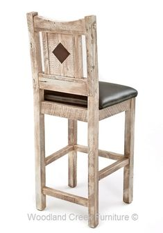 Reclaimed Barn Wood Stool in Gray  Wash Finish by Woodland Creek Furniture