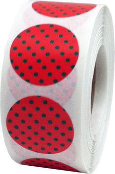 Red Stickers with Green Polka Dots  0.75 Inch by TheDotSpotLane