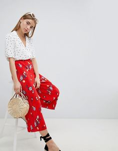 Nobody's Child | Nobody's Child Plisse Wide Leg Trousers In Floral  -----