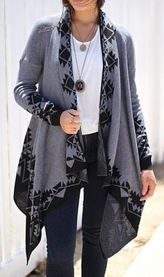 Caralase Charcoal New Tribal Open Cardigan