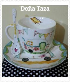 Facebook/doñataza Dot Art Painting, Mandala Painting, China Painting, Pottery Painting, Ceramic Painting, Painted Mugs, Hand Painted Ceramics, Porcelain Ceramics, Ceramic Mugs