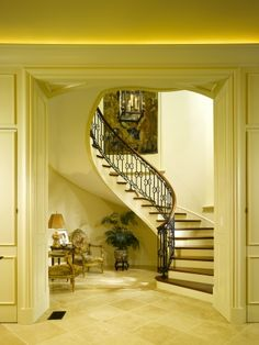 Stair Hall, off Foyer in Provence style mansion...