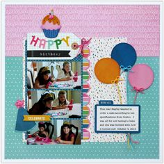 A Pebbles Inc. Birthday Wishes layout by Mendi Yoshikawa - Scrapbook.com - Tie cut or punched balloons with coordinating colored twine.