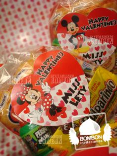 https://www.facebook.com/invitaciones.bombon #Valentine`s #SanValentin #Amor #Love #Amistad  #BeMine #Heart #diseño #Invitaciones #Bombon #InvitacionesBOMBON #candy #mickeymouse #mickey #minniemouse #minnie #bag #favorbag #Pink #Red #Dulcero