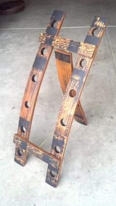 Oak whiskey barrel stave wine bottle rack by SpiritGuy on Etsy, $150.00