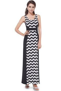 the perfect casual summer dress! this dress features an on trend chevron print coupled with a sleeveless design and round neckline. the classic black and white colors make this dress a great choice for a variety of occassions and allows you to dress it up