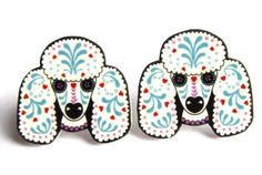 Sugar Skull Style Poodle Earrings in White by Dolly Cool Dog Day of the Dead I really really want these!!!!!