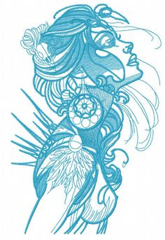 Exotic beauty machine embroidery design. Machine embroidery design. www.embroideres.com