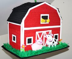 Barn Pinata MADE TO ORDER Birthday Animal Barnyard Farm Party Decor Game Petting Zoo Cow Pig Handmade Centerpiece by PoppinPinatasandmore on Etsy https://www.etsy.com/listing/224455046/barn-pinata-made-to-order-birthday