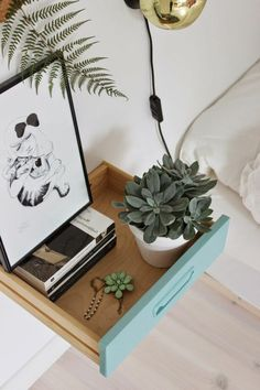 10 clever alternative nightstands for small spaces. Learn how to use a simple stool and floating shelf as functional space-saving bedside table alternatives to create more space in your bedroom. Discover more small bedroom decor ideas on Domino. Handmade Home, Floating Nightstand, Floating Shelves, Scrap Wood Projects, Rustic Room, Paper Roses, Diy Wall Art, Wood Pallets, Decoration