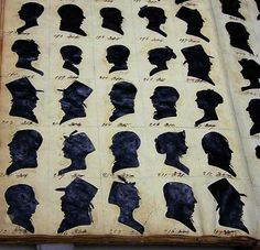 An album of silhouette duplicates by American artist William Bache (1771-1845) far more neatly arranged than my own.