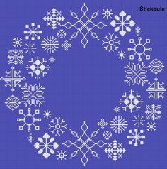 Cross stitch snowflake wreath-design for card