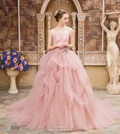 Classic, lively, and charming, this champagne pink gown from Marry Me Japan embraces sweet femininity with a touch of whimsical flair!