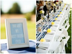 summer wedding in the california mountains | Carmen Salazar Photography #yellow #navy #stripes #patterns #wedding #summer #california #lemons #preppy