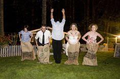 Lawn games at the wedding- sack races, croquet, tug of war (grooms side vs. brides side), badminton etc etc