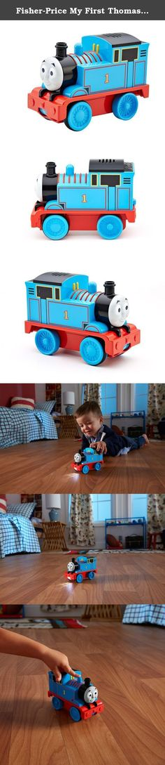 """Fisher-Price My First Thomas the Train Track Projector Thomas. Now Thomas can take the tracks with him wherever he goes! This Thomas toy train from Fisher-Price delivers fun railway play in an innovative way – as toddlers push Thomas along, he'll project """"track"""" beneath him, so it looks like he's racing on the rails. In addition to light-up track projection, Thomas will deliver music, sounds and phrases for a fun-filled, interactive playtime experience. Track Projector Thomas can also…"""