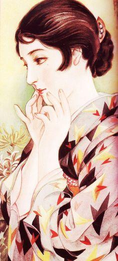 taishou-kun:  Takabatake Kasho 高畠華宵 (1888-1966) Hohoemi ほほえみ (Smile) - 1930