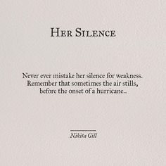 Her silence............just wait for the hurricane!!!!!!!!!!!!!